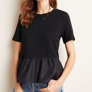 NWT Anthropologie Brielle Black Satiny Peplum Top